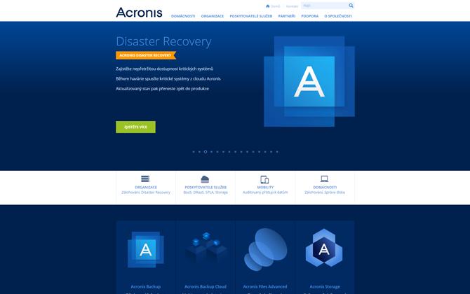 Grafické prvky webu Acronis