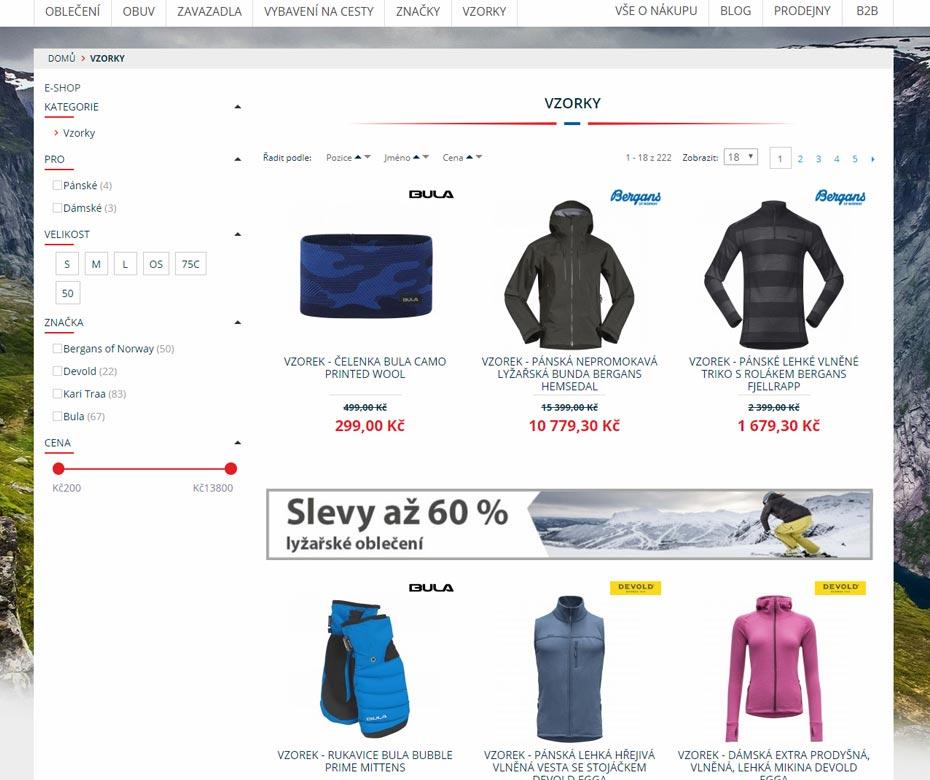Detail of e-shop Norská móda