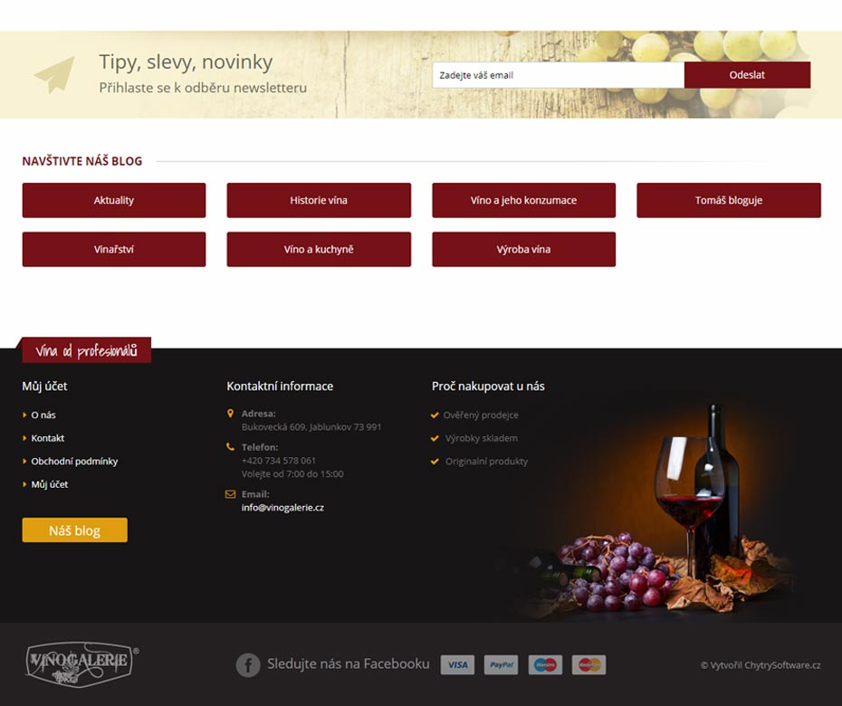 Footer of e-shop Vínogalerie