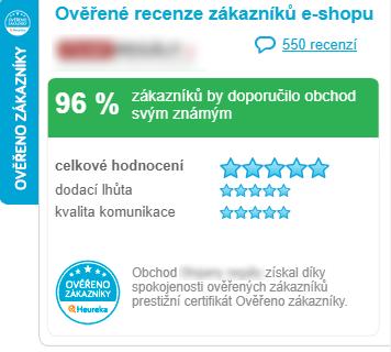 Heureka ověřeno zákazníky widget Chsoft